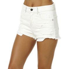 Billabong Memory Lane Womens Short White Cotton ($53) ❤ liked on Polyvore featuring shorts, white, denim shorts, women, high waisted denim shorts, white jean shorts, high-waisted shorts and high waisted jean shorts
