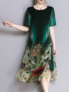 f477cffb74d Buy Midi Dress For Women from YZL Studio at Chicloth. Online Shopping  Chicloth Plus Size Green Midi Dress Going out Dress Short Sleeve Vintage  Slit Dress