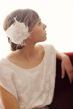 French Bandeau Birdcage Veil adorned with fascinator - love it for the exit outfit! Wedding Hair And Makeup, Bridal Hair, Wedding Looks, Dream Wedding, Trendy Wedding, Wedding Styles, Wedding Photos, Short Veil, Wedding Dress 2013