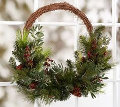 Oversized Asymmetrical Pine And Berry Wreath