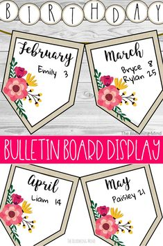 Create a farmhouse feel in your classroom with this farmhouse inspired floral and burlap bulletin board. Display your class birthdays on this bulletin board for everyone to see. #bulletinboards #birthdays