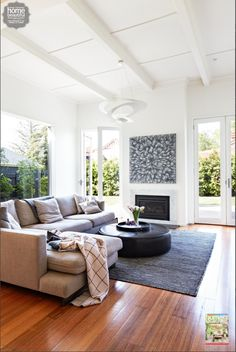 Loving Gary Mehigan's relaxed and spacious lounge room. Our SUBI rug is right at home! My Living Room, Home And Living, Living Area, Living Room Decor, Living Spaces, Modern Living, Spacious Living Room, Luxury Living, Modern Wall