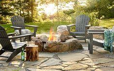 Backyard Ideas Discover All-Weather Waterfall Adirondack Chair Backyard Seating, Small Backyard Landscaping, Fire Pit Backyard, Landscaping With Rocks, Landscaping Ideas, Backyard Planters, Nice Backyard, Backyard Patio, Wooded Backyard Landscape
