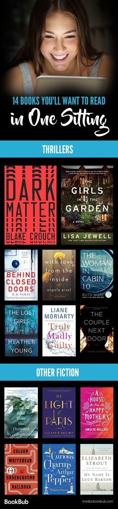 14 books you'll want to read in one sitting. Add these recommendations to your to-be-read pile! Including a mix of thriller books, award-winning fiction, and other books worth reading.