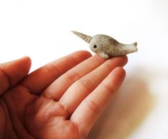 Stone Narwhal Totem Miniature Polymer Clay Animal by MadAristocrat, $15.00