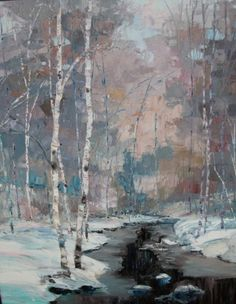 Winter scene with birch and a stream.