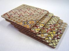Japanese Wood Mosaic Yosegi - Coaster - Glass Mat- Set of 5pcs. $19
