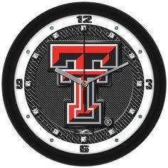 NCAA Texas Tech Red Raiders Carbon Fiber Textured Wall Clock