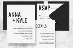 Modern Minimalist Printable Wedding Invitation Set - Wedding Invitation Template for Word