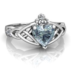 Aquamarine Claddagh Trinity Knot 14K White Gold ring R5001 - front view