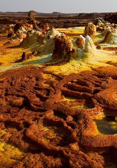 Dallol is a volcanic explosion crater (or maar) in the Danakil Depression, northeast of the Erta Ale Range in Ethiopia