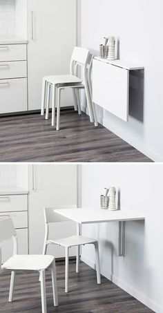 16 Wall Mounted Desk Ideas That Are Great For Small Spaces kitchen eating area idea. 16 Wall Desk Ideas That. Table For Small Space, Desks For Small Spaces, Small Space Kitchen, Small Dining, Furniture For Small Spaces, Table For Small Kitchen, Modern Spaces, Kitchen Eating Areas, Deco Studio