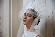 Statement Wedding Headpiece with ivory feathers by AgnesHart