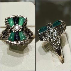 Emerald & onyx antique filigree ring 14k white gold.