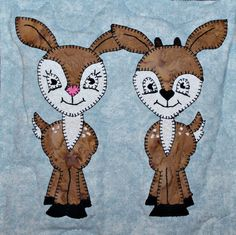 White-tailed deer fawn PDF applique quilt block pattern; North American forest…