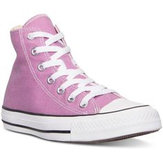 Converse Women's Chuck Taylor Hi Casual Sneakers from Finish Line ($60) ❤ liked on Polyvore featuring shoes, sneakers, powder purple, lined shoes, vintage footwear, vintage sneakers, purple shoes and vintage shoes