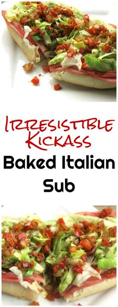 Easy Baked Italian Sub Recipe: Can I eat this everyday? Seriously, it's that delicious. Pin this and make it for dinner. You won't be disappointed.