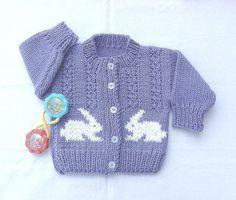 Age 1 to 2 yrs girl's bunny cardigan, Toddler knit bunny cardigan.