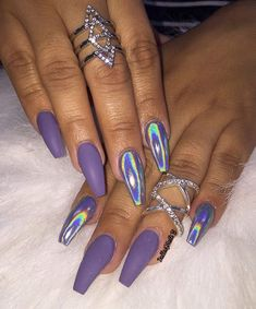 In seek out some nail designs and ideas for your nails? Here's our listing of must-try coffin acrylic nails for stylish women. Aycrlic Nails, Matte Nails, Hair And Nails, Purple Chrome Nails, Purple Stiletto Nails, Gorgeous Nails, Pretty Nails, Best Acrylic Nails, Holographic Nails Acrylic