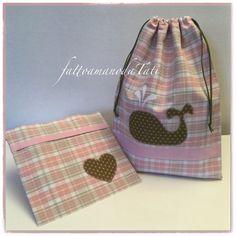 Sacchetto asilo in cotone scozzese rosa e beige con balena applicata e busta con cuore coordinata, by fattoamanodaTati