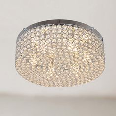 Berta 6-light Chrome Flush Mount Chandelier with Clear Crystals - Overstock™ Shopping - Big Discounts on Otis Designs Flush Mounts
