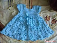 Free fancy Crochet Baby Dress Patterns | Blue Princess Dress free crochet graph pattern / baby time ...
