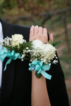This Was My Corsage And Boutonnière For Homecoming White Roses, Babyu0027s  Breath, Simple Fern And Light Blue Bow.