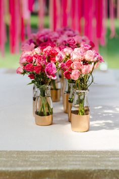 Easy gold dipped jars...ideal for a golden anniversary party table decoration.
