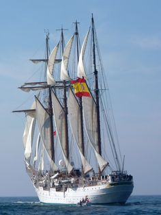 """pirates-king: """"Pirates' King King Juan Sebastián de Elcano: Is a training ship for the Royal Spanish Navy. She is a four-masted topsail, steel-hulled barquentine (schooner barque). At 113 metres (371..."""