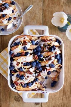 One whiff of this blueberry-pecan pancake bread pudding and your kids will be running to the breakfast table. #easyrecipe #recipe #food #ideas #comfortfood #brunch #breakfast #dessert