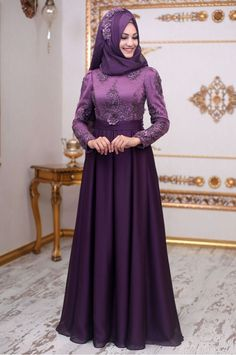 An Nahar - Zeren Abiye - Mor - dresses Hijab Style Dress, Hijab Wedding Dresses, Eid Dresses, Elegant Prom Dresses, Long Bridesmaid Dresses, Indian Dresses, Abaya Fashion, Fashion Outfits, Fashion Ideas