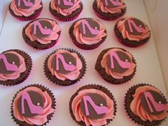 Pink Stiletto Cupcakes...Love me some heels!!