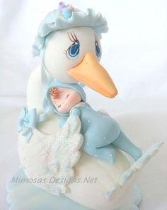 Baby Shower Cake Topper Baby Shower Mommy Stork by MimosasDesigns