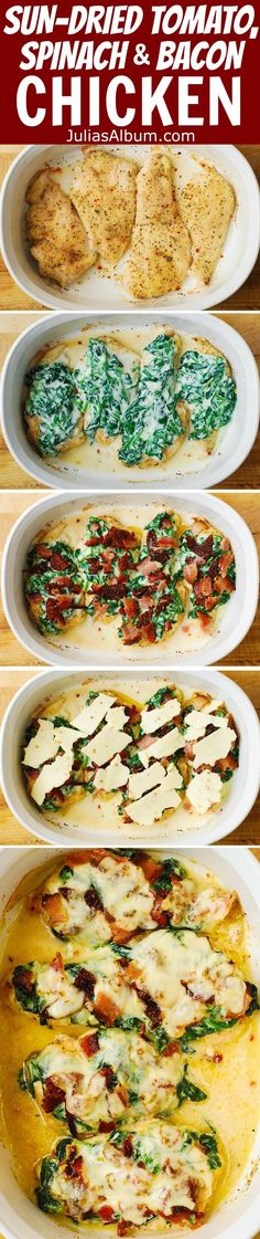 Italian Chicken Breasts, smothered with the creamed spinach, sun-dried tomatoes and bacon - cooked in a casserole dish (chicken breast recipes, easy dinners)