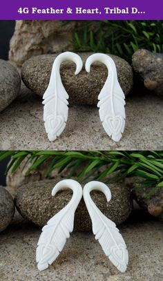 """4G Feather & Heart, Tribal Designs - Gauge Stretcher Earrings - Bone Carving Body Piercings, Water Buffalo Bone. High Detail, hand-carved, real gauge earrings from ox bone. Piercings for stretched ears. Make these beautiful, one of a kind gauges your today! Size: 4G - 5MM - 13/16""""."""