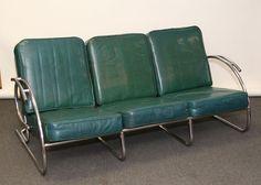 Tubular chrome modern Art Deco sofa with six green vinyl cushions. Art Deco Chair, Art Deco Furniture, Furniture Design, Metal Chairs, Cool Chairs, Modern Art Deco, Sofa Chair, Couch, Eclectic Style