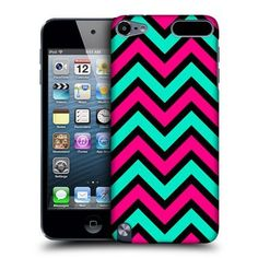 Pink & Teal In Black Neon Chevron Case For Apple iPod Touch 5G 5th Gen by Ecell,
