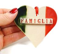 Famiglia Heart Ornament, Italian Flag, Italian Ornament, Italian Family, Italian Christmas, Italian Gift, Christmas Ornament, Italy Kitchen