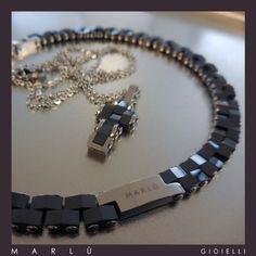 Bracciale e croce in acciaio e ceramica nera della collezione #ManClass  Steel and black ceramic bracelet and steel necklace with black ceramic cross. #ManClass collection