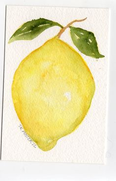 Original  Lemon with Leaves  Watercolor Painting, Fruit Series, 4 x 6. $10.00, via Etsy.