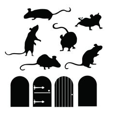 """Hurry and scurry, the mice are on the move. These cute little mice silhouettes and doors can create a charming whimsical scene on your staircase, hallway, or any little corner that needs a bit of charm! If your walls are boring, our quality non-fading vinyl wall decals are the perfect accessories! Dimensions: each door - 2.4""""w x 4""""h average of mice: 2"""" - 4.8""""h x 3.2"""" x- 6"""" w *See our FAQ and Policies for further information about our decals and company."""