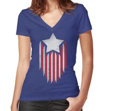 Women's Fitted V-Neck T-Shirt #4thOfJulyRunningGear #TeamSparkle
