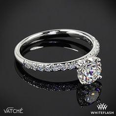 "beautiful 0.915 ct H VS1 A CUT ABOVE® #HeartsandArrows Super Ideal Round #Diamond. Set in our elegant Platinum #Vatche ""Charis Pave"" Diamond Engagement Ring"