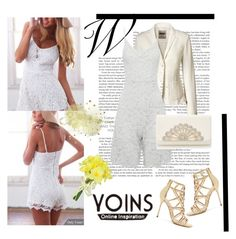 """""""White Lace Cami Rompers-YOINS Contest"""" by woman-1979 ❤ liked on Polyvore featuring Sergio Rossi, Pavilion Broadway and yoins"""