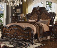 Acme Furniture 21790 Q Versailles Cherry Oak Parquet Panel Queen Sleigh Bed Traditional Q Versailles) Buy online! Bedroom Size, King Bedroom Sets, Bedroom Bed, King Size Bedroom Suites, Master Bedroom, Oak Bedroom, Queen Bedroom, Acme Furniture, Bedroom Furniture
