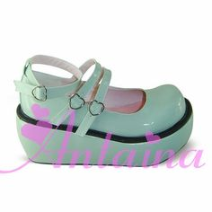 Light Green Lolita Tea Party Shoes with Straps.