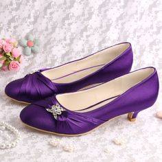 (13 Colors)Hot Selling Beautiful Bridal Low Heel Wedding Evening Shoes Purple Satin Size 39 Free Shipping on Aliexpress.com