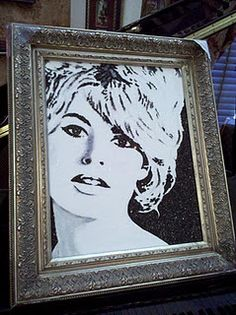 Brigitte, portrait using crushed german glass glitter by Stephani chandler  www.divineaddictions.com
