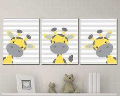 Baby Giraffe Nursery Art. Yellow And Grey Nursery Art Decor. Giraffe Nursery Art Prints -P221,222,223 by HopAndPop on Etsy https://www.etsy.com/uk/listing/269383061/baby-giraffe-nursery-art-yellow-and-grey