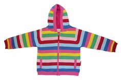 Toby Tiger Knitted Girly Stripe Jacket lined with pink fleece